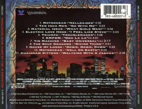 Hellraiser 3 Soundtrack 1992 CD Sniper Reference