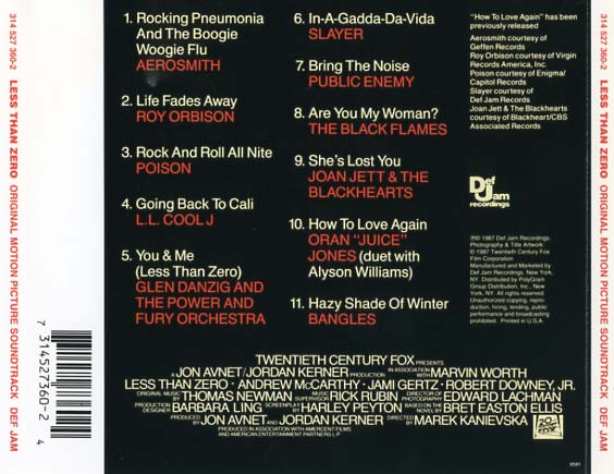 less than zero soundtrack 1987 cd sniper reference