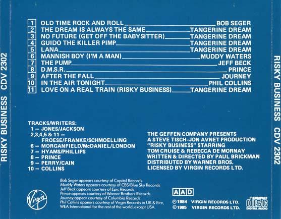 Risky Business Soundtrack (1984) - CD Sniper Reference Collection of Rare Movie Soundtracks