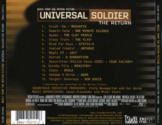 Universal Soldier - The Return Soundtrack (1999) - CD Sniper Reference Collection of Rare Movie ...