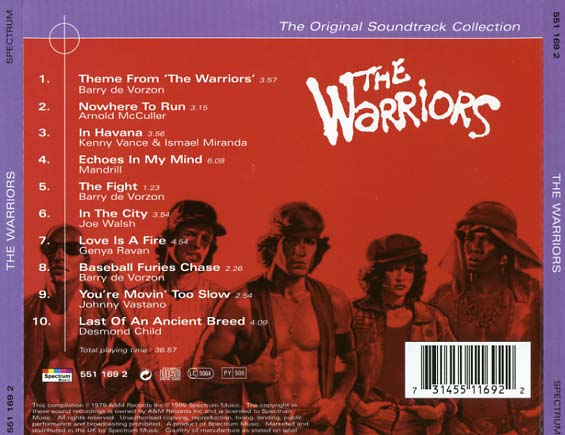 The Warriors Soundtrack 1979 CD Sniper Reference